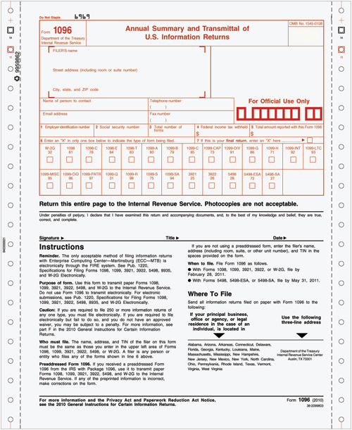 Tax Forms | 1096 Continuous Annual Summary & Transmittal - Costco
