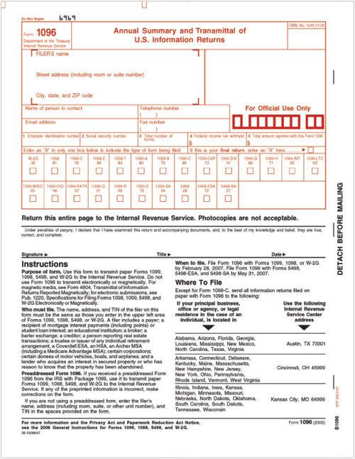 Tax Forms 1096 Annual Summary Transmittal Cut Sheet Costco Checks
