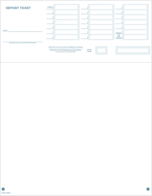 Laser Deposit Slips (Deposit Tickets) - Quickbooks 99 & Higher